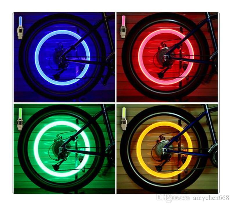 Sıcak yeni Yenilik Araba Bisiklet LED Flaş Lastik Işık Tekerlek Vana Kök Cap Lambası Motorbicycle Tekerlek Işık takip numarası ile ücretsiz kargo