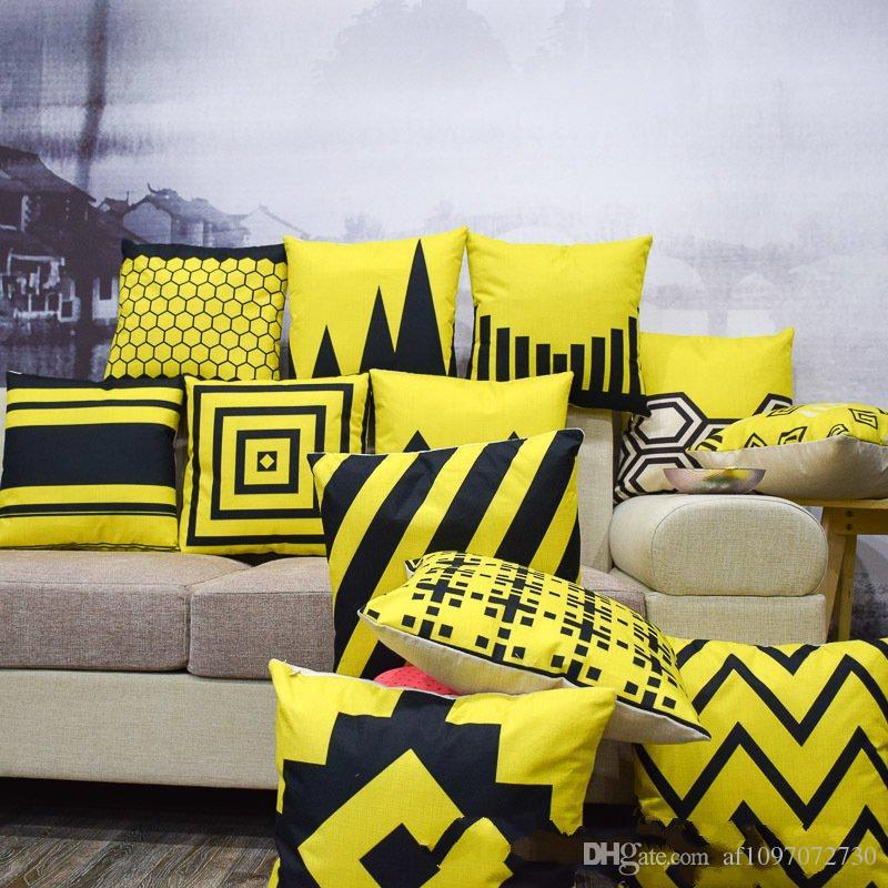 Cuscini Gialli Per Divano.Acquista New Multicolor 12 Stili Federa Cotone Lino Nordico Giallo