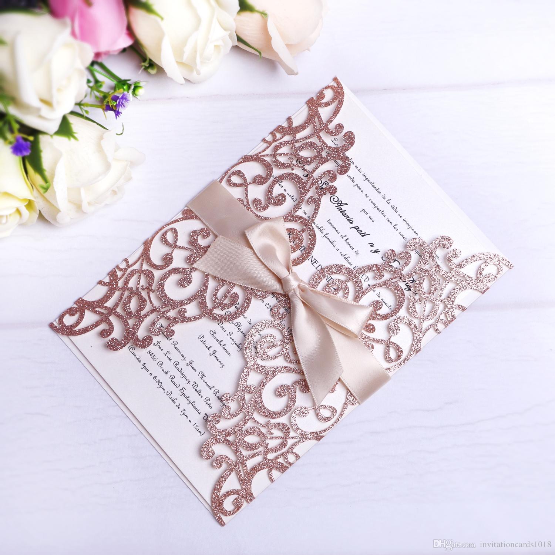 Rose Gold Glitter Лазерные приглашения приглашений с бежевыми лентами для свадебной свадебной душа Обращающаяся на день рождения выпускной