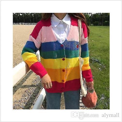 Las mujeres de las muchachas del arco iris del bordado de punto suéter de la capa de Cardigan chaquetas de colores