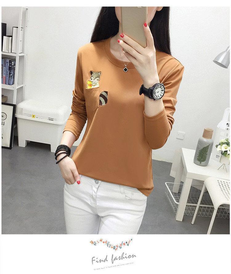 Embroidery T-shirts Women Tshirt O-neck Long Sleeve T-shirts Women Autumn Tops Tee Shirt Femme 2019 Cotton Camisetas Large Size (7)