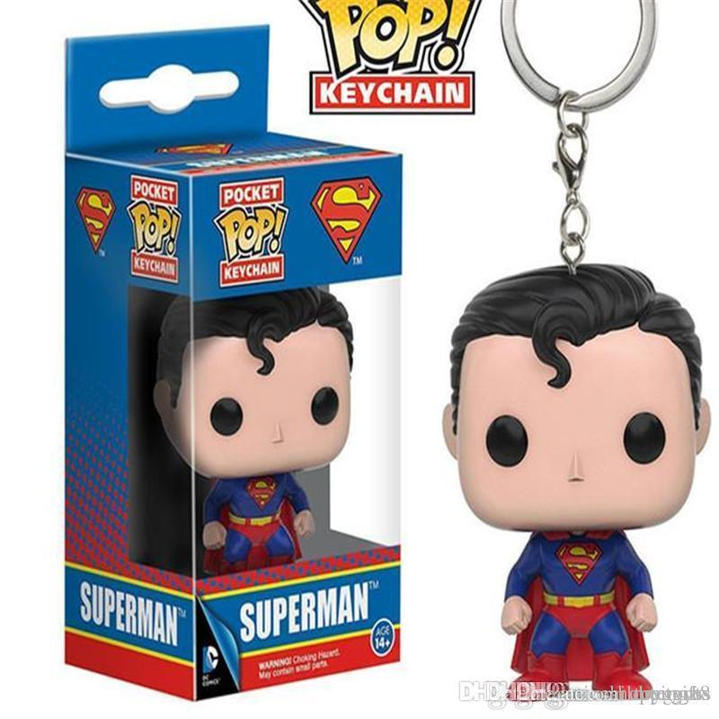 WHOLESALE Funko POP Superman Key Chain Doll Justice Union Pendant Model Pocket Of Film And Television Pop Figurine Pop Vinyl Figures
