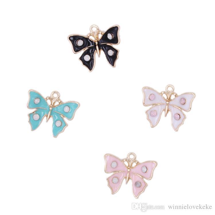 En vrac 200PCS de 18 * charmes papillon émail 14mm détails de bon pendentif, plaqué or 4 couleurs pour l'option