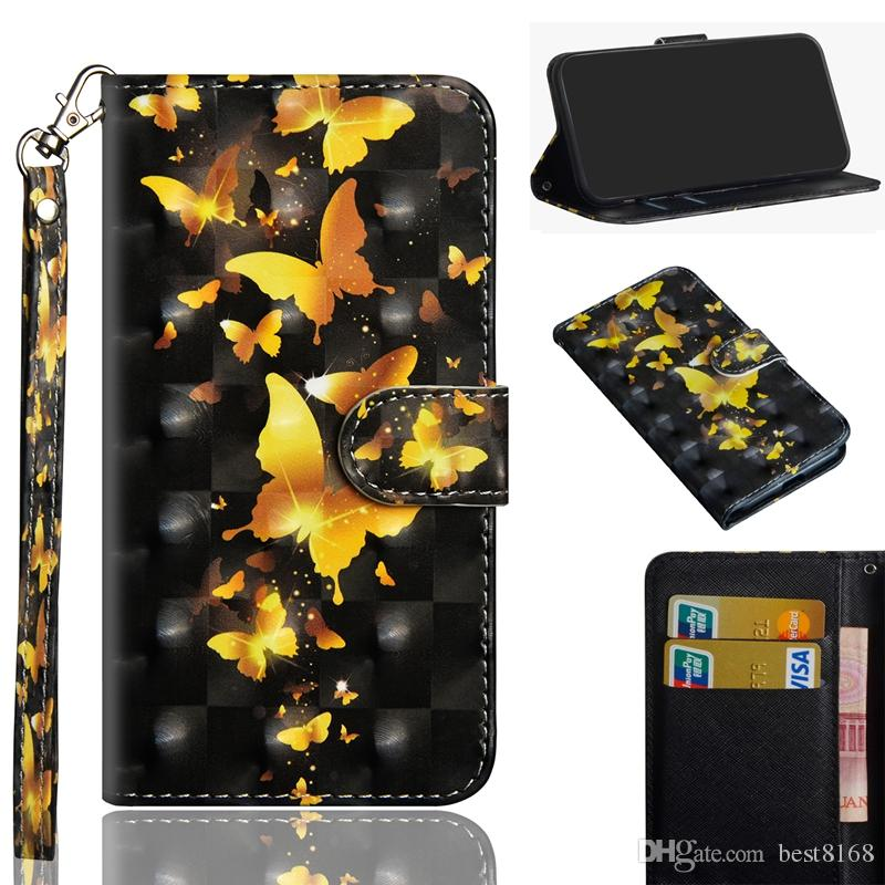 3D Butterfly Leather Wallet Case For Nokia 9 6.1 5.1 3.1 2.1 5 3 2018 7 Plus 2 Lace Flower Panda Tree Bird Flip Cover Cartoon Wolf Coque