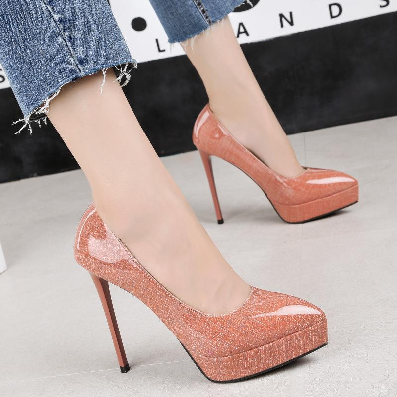 12.5cm designer women pumps elegant PU leather pointed toe stiletto high heels lady party singles shoes 2759-11
