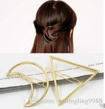 Nuova promozione Trendy Vintage Circle Lip Moon Triangolo Hair Pin Clip Tornante Pretty Womens Girls Metallo Accessori 60 pezzi