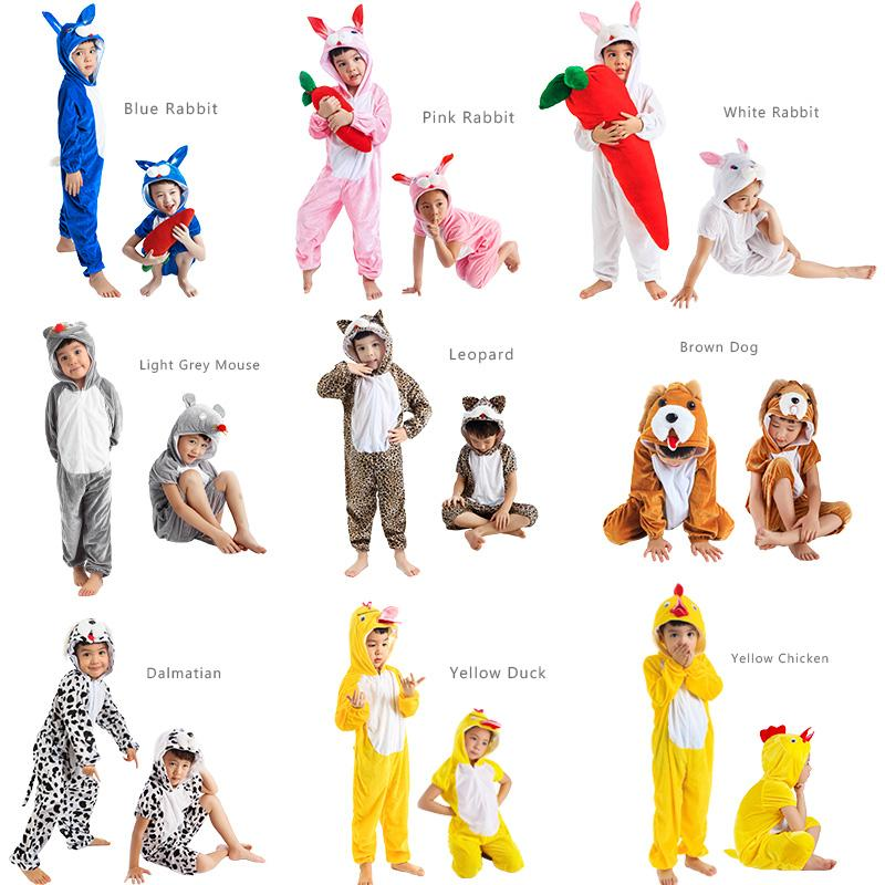 JinXuan Rabbit Dog Dalmatian Mouse Leopard Chicken Duck Kids Children Adult Animal Costume Jumpsuit Stage Show Party mascot