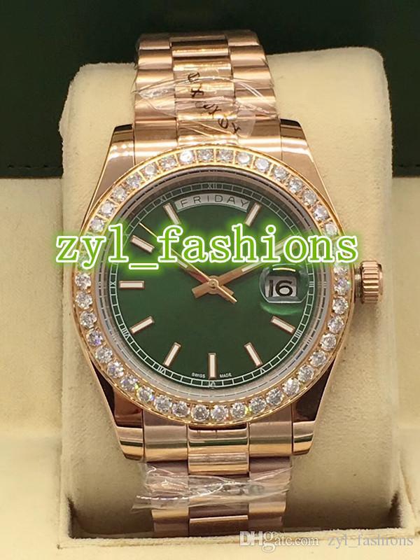 Moda Biznes Luksusowy Męski Zegarek Diament Bezel Zielona Powierzchnia Rose Gold Watch Automatyczny mechaniczny podwójny kalendarz zegarek
