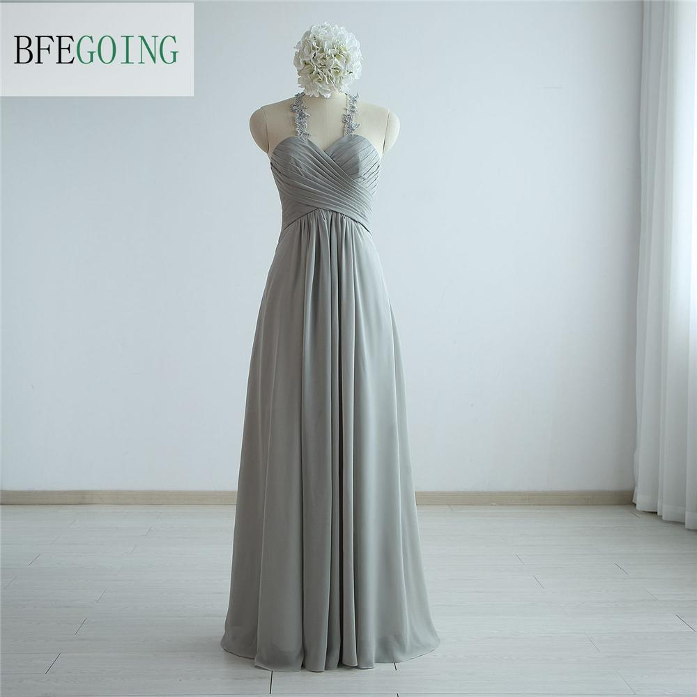 Simple Gray Real Photos Sheath Sweetheart Straps Chiffon Pleat Evening Dress Sexy Back With Sequins Floor-Length Evening Gowns