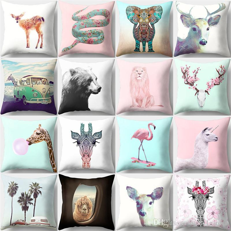 18*18 Inch Polyester Peach Skin Square Pillow Cover Deer Lion Pattern Home Decor Pillowcase Throw Pillow Cover