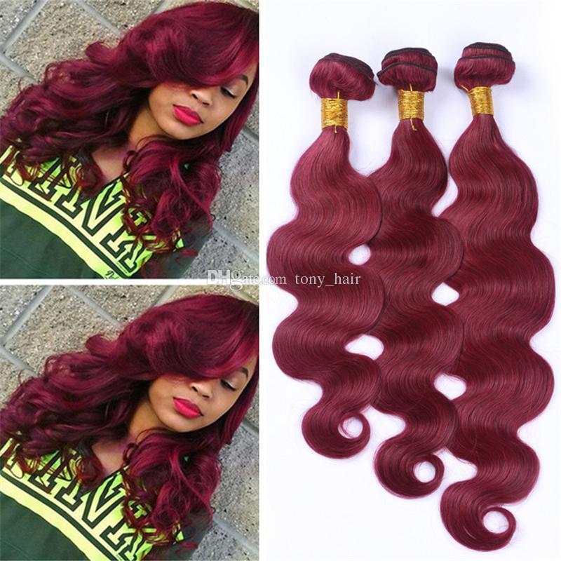 Grade 8A Vin Rouge Cheveux Péruviens 3 Bundles Vague de Corps Bourgogne Cheveux Tisse 99J Couleur Ondulés Extensions de Cheveux Humains 300g
