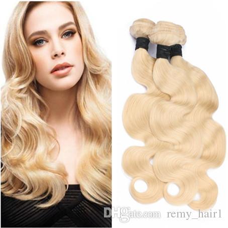#613 Blonde Brazilian Virgin Human Hair Weaves Body Wave Wavy Double Wefts Extensions Bleach Blonde Virgin Human Hair Bundles Deals