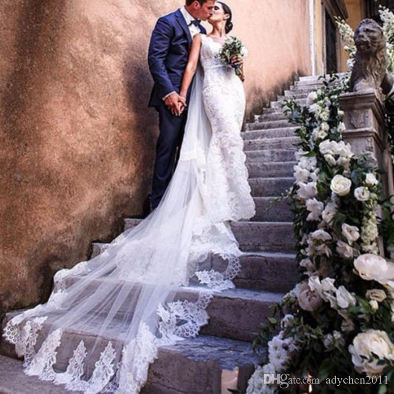2018 Real Photos White/Ivory Wedding Veil 3m Long with Comb Lace 2 Layer Mantilla Bridal Veil Wedding Accessories Veu De Noiva Cathedral