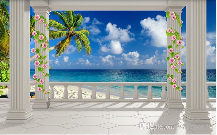 Custom Fototapeta Nowoczesna Sztuka Malarstwo Wysokiej Jakości Mural Tapeta Europejski Balkon Plaża Widok na morze 3D TV Tło ściany 3d Mural Wallpape