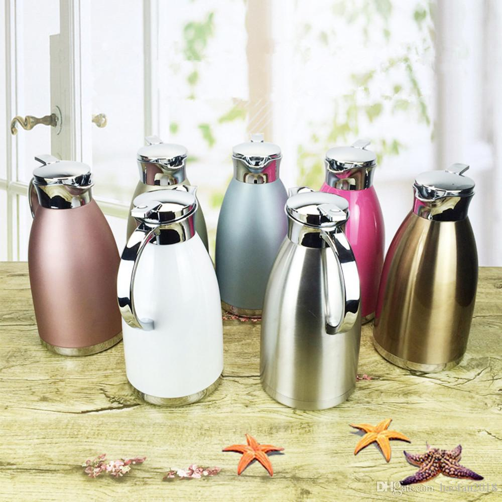 1.8L / 61 oz de acero inoxidable térmica café garrafa, de pared doble aislamiento al vacío Bebida jarra de leche Agua Dispensador de café