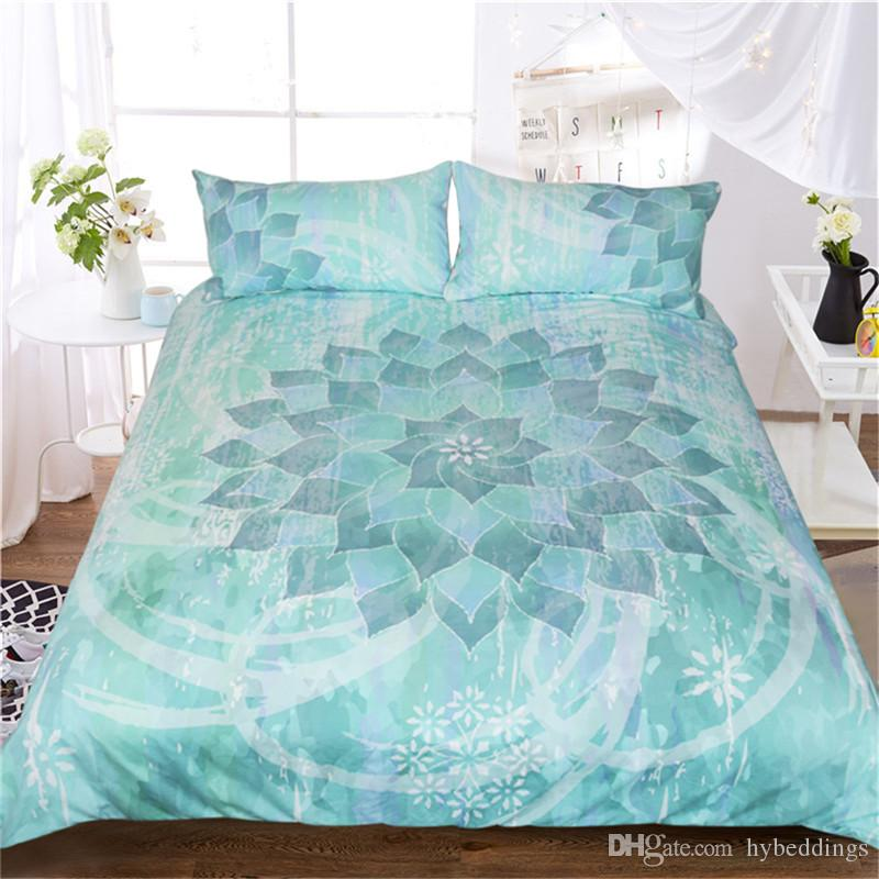Full//Queen or King Boho Mandala Blue Teal Bedding Comforter 3 Pc Cotton Set