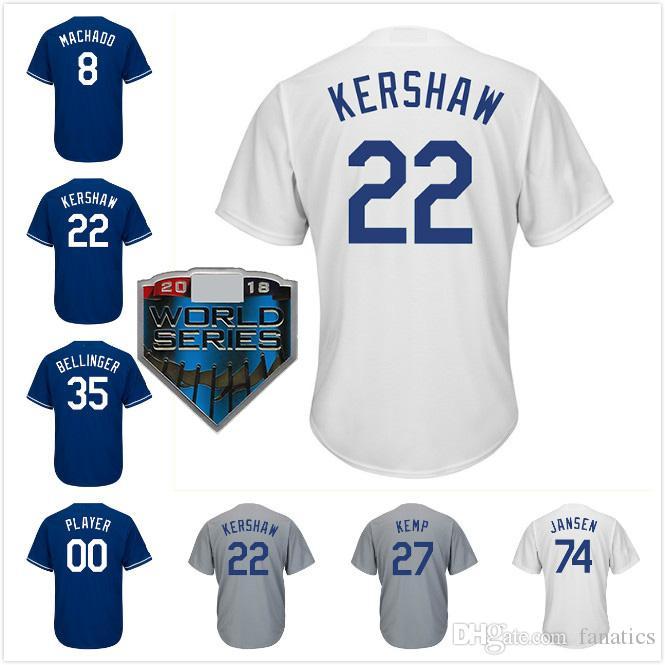 2018 WS Los Angeles Béisbol Jersey 22 Clayton Kershaw 35 Cody Bellinger 8 Manny Machado 21 Walker Buehler 61 Alex Verdugo Hombres Mujeres