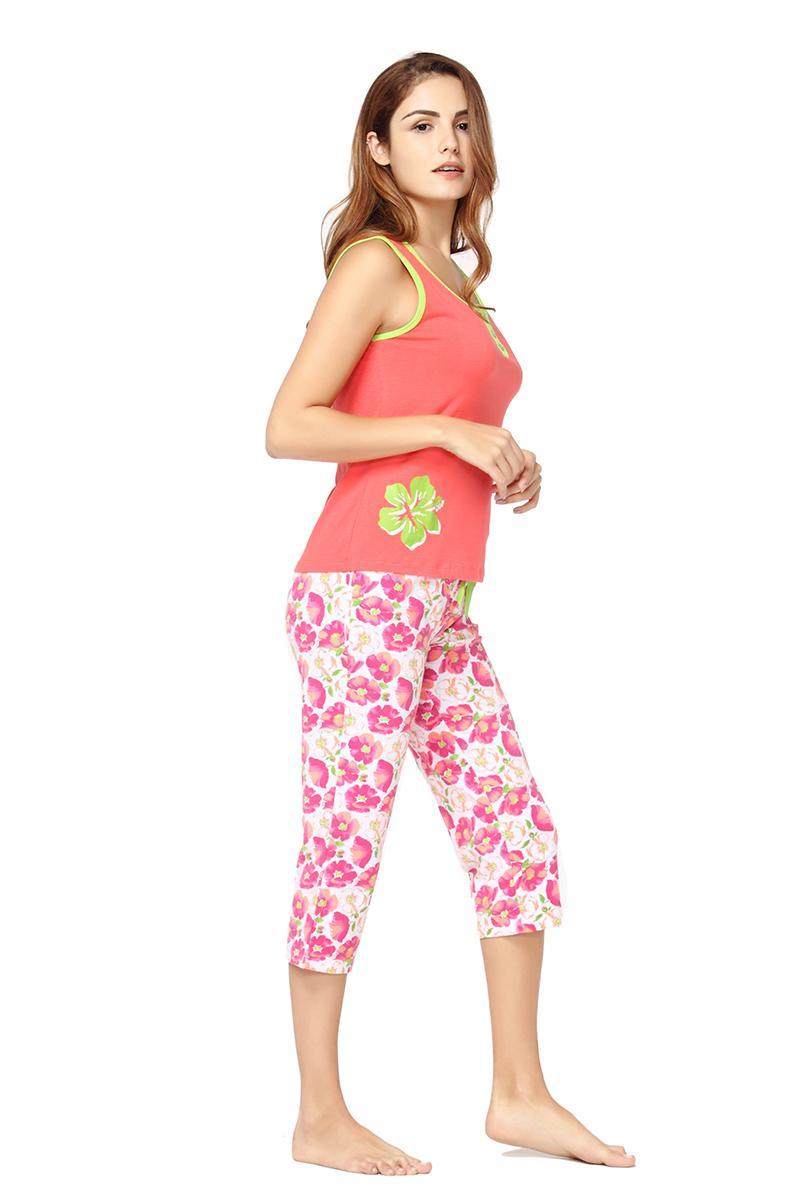 Conjunto de Pijama de verão Conjunto de Pijama de Algodão Sexy Shorts Capris Com Cordão Sem Mangas Floral Impressão Nightwear Femme Pijama Set Mulheres