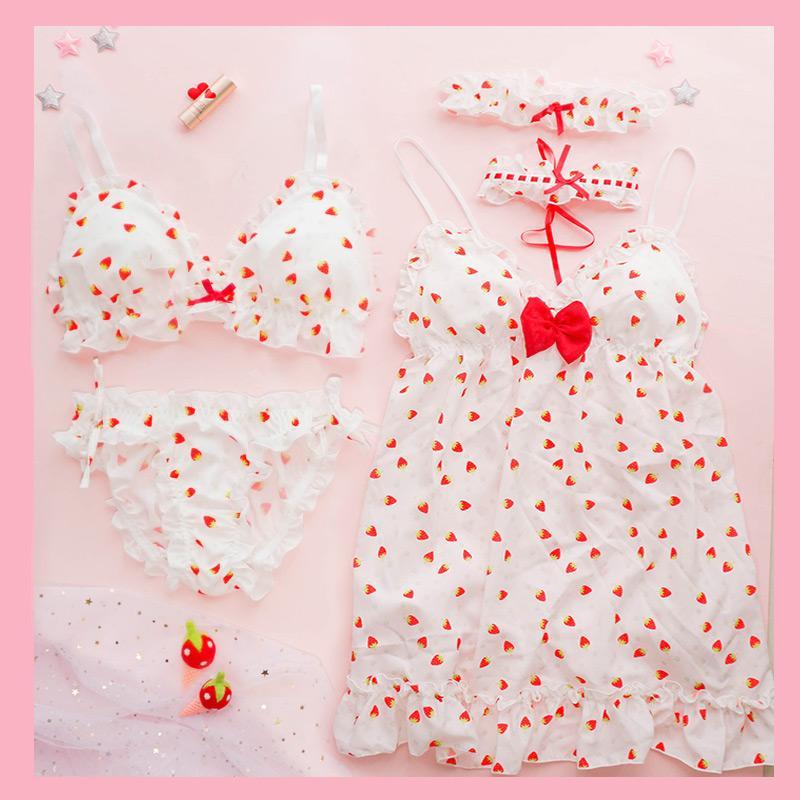 Sevimli iç çamaşırı yumuşak sutyen yok jantlar şifon etek suit Japon çilek pijama bluz lingerie set ropa İç dessous pantie