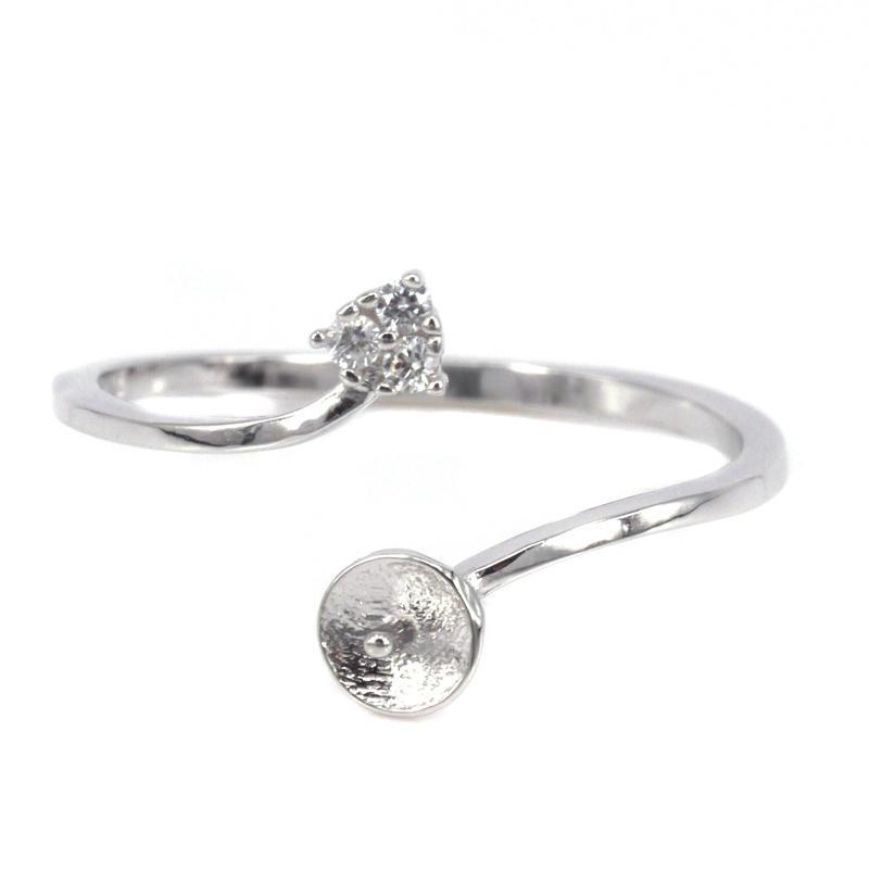 10PCS / LOT Commercio all'ingrosso 925 anello di fidanzamento di fidanzamento in argento sterling 6-10mm rotonda perla perla semi anello di montaggio per le donne impostazione