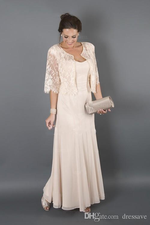 Elegant Mother of the Groom Bride Dress Beach Long Cap Sleeves With Lace Jacket