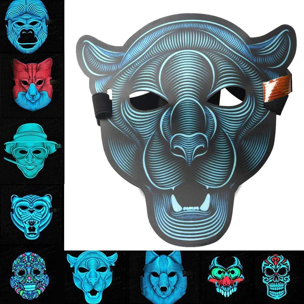 LED Music Mask Voice Control Halloween Xmas Cosplay Light Up Festival Dance Parties EL Mask Cold Light