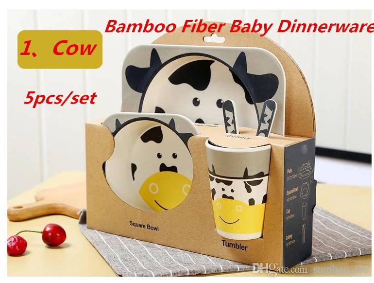 Animal Zoo Baby Plate Bow Cup Forks Dinnerware Feeding Set 100/% Bamboo Fiber Baby Children Tableware Set 5pcs//Set Cow