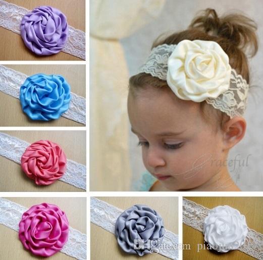 Baby Taufe Stirnbänder Baby Mädchen Spitze Stirnbänder, Baby Mädchen Haarbögen Taufband mit Blume