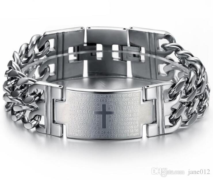 17-21 cm Spagna Bible Verse Lord's Prayer Cross Bracciali in acciaio al titanio per uomo Nero Oro Bianco Acciaio classico all'ingrosso di gioielli