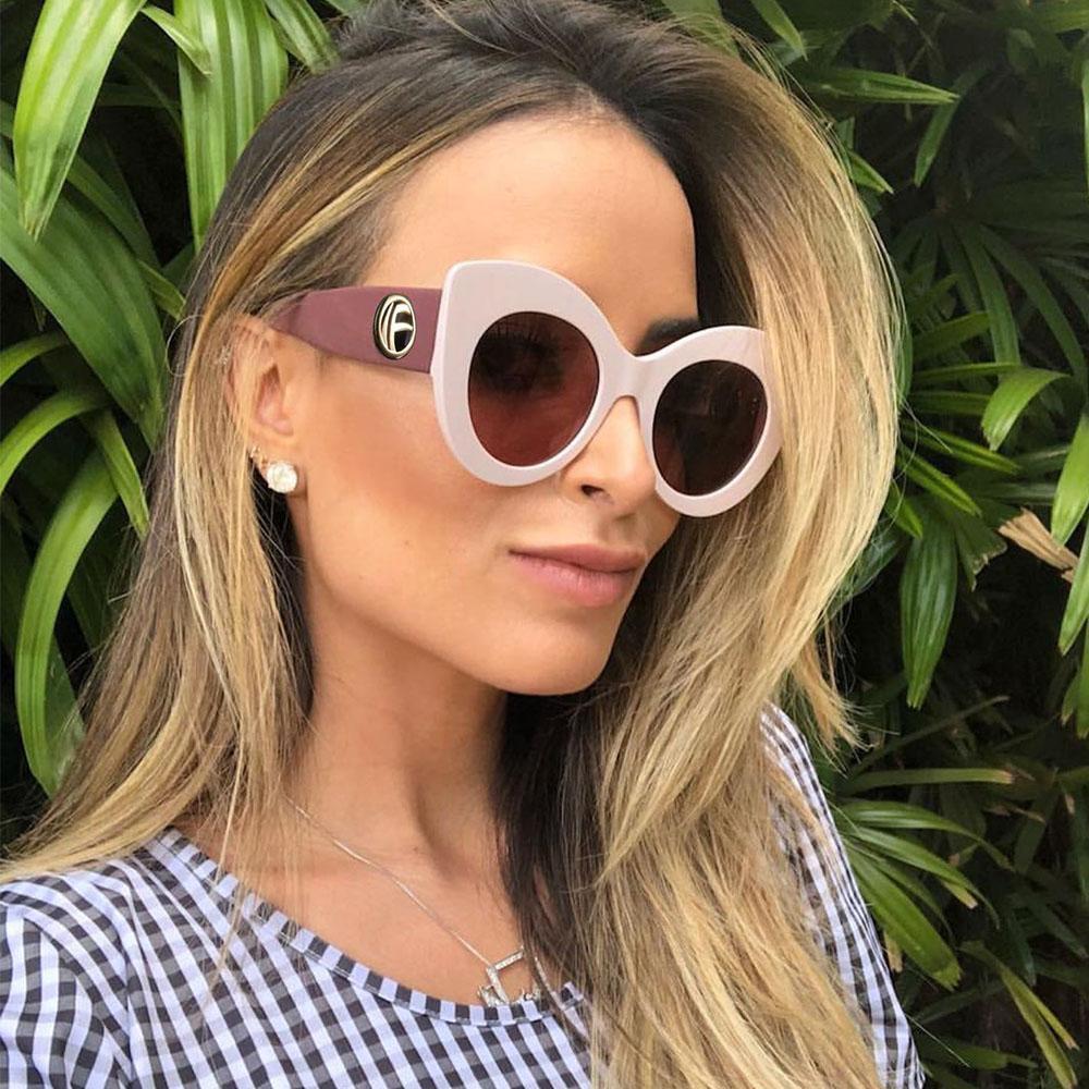 Comercio al por mayor 2018 Italia Diseñador de la Marca F Carta Gran Marco de Lujo Señoras Gafas de Sol Ojo de Gato Mujeres de Gran Tamaño Salvaje HD Clout Gafas Sol Sombra