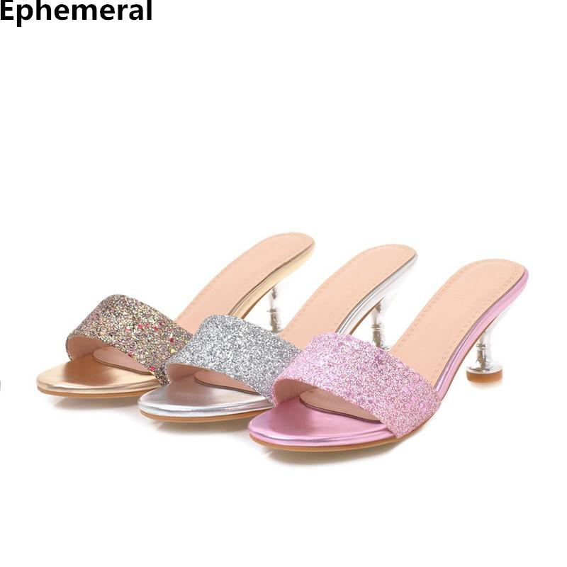 Ladies Sequined Cloth Bling Slippers Fashion Summer Peep Toe Shoes Outdoor 6cm Heel Slides Anti- Slip Sole Plus Size 41-35 37 43