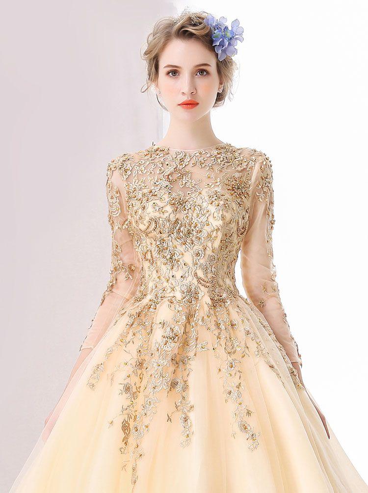 Compre 2018 Champagne Vestidos De Novia De Manga Larga Con Apliques De Encaje Dorado Perlas Vestido Tren De La Corte Nupcial Musulmán Vestidos De