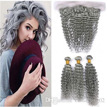 El cabello humano de color gris plateado teje con cierre frontal Cabello humano de color gris peruano de onda profunda 3 paquetes con encaje completo frontal 13x4