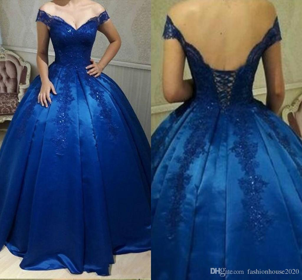 2018 Royal Blue Ball Gown Quinceanera Dress Off Shoulder Lace Applique Backless Corset Sweep Train Satin Plus Size Arabic Prom Evening Gowns 15 Quinceanera Dresses Best Quinceanera Dresses From Fashionhouse2020 122 5 Dhgate Com