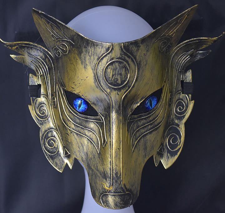 Máscaras Máscara Samurai cabeza del lobo del partido de Cosplay de Halloween de fiesta de la mascarada del hombre del cumpleaños Licenciatura Steampunk accesorios del vestido de lujo