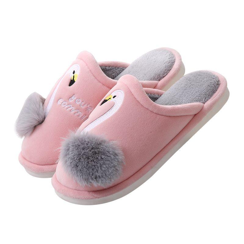 Womens Swan Winter Soft Plush Slipper Non-Skid Warm Indoor Bedroom Slippers