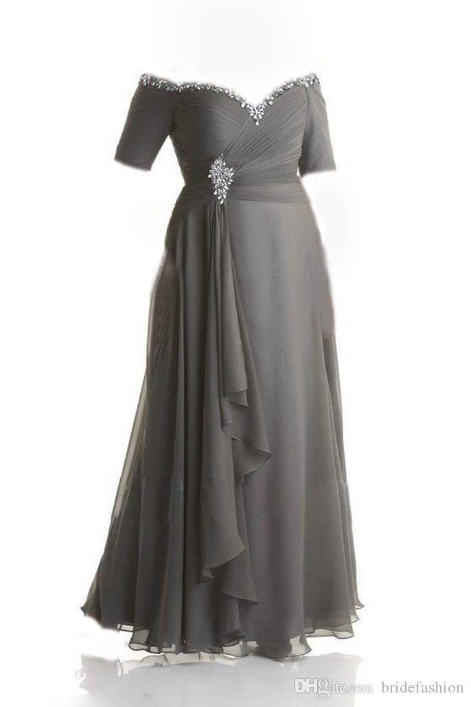 Custom Made Plus Size Dresses Evening Wear Bead Sequins Off Shoulder Ruched  Gray Chiffon Prom Dress Mother Of The Bride Gowns Ankle Designer Dresses ...