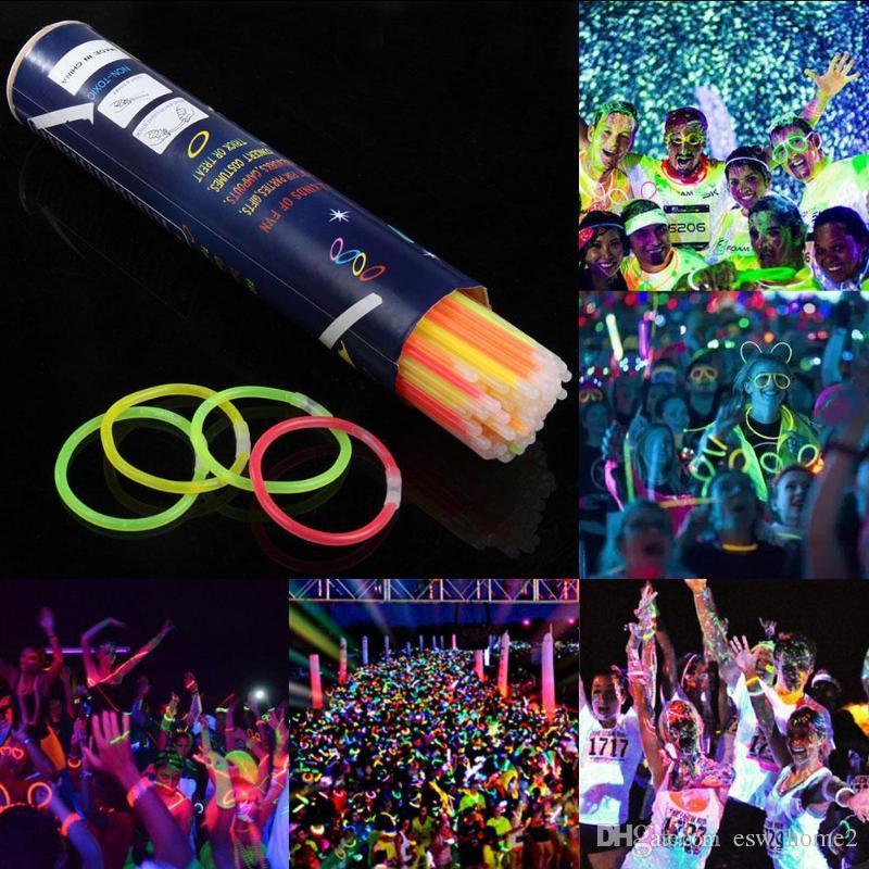 """GLOW STICKS 8/"""" INCH NEON BRACELET NECKLACE PARTIES FESTIVALS LIGHT RAVE"""
