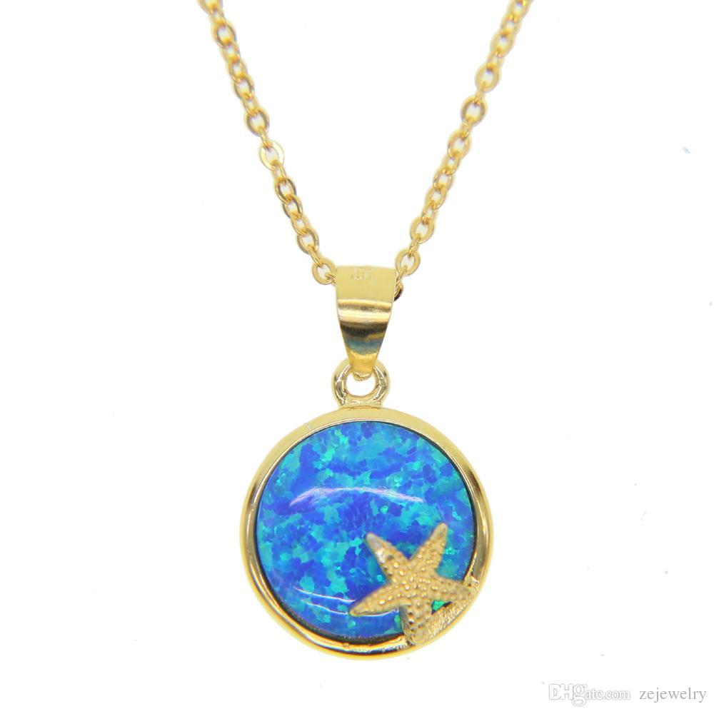 2018 Unique Design 925 sterling silver Women cute girl fine party jewelry blue fire opal Gem summer beach Starfish fashion Pendant Necklaces