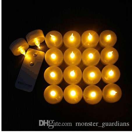12 Yanıp Sönen LED Elektronik LED Alevsiz Mumlar Uzaktan Kumanda Glow Çay Işık Amber Düğün Parti Noel Deco Için
