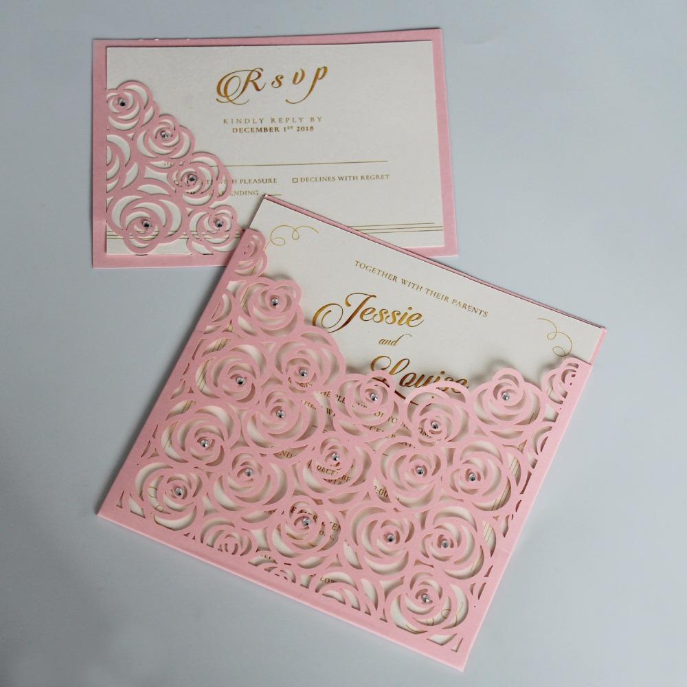 Convites de casamento de bolso rosa Cartões de convite de rosa românticos com RSVP - conjunto de 50 pcs