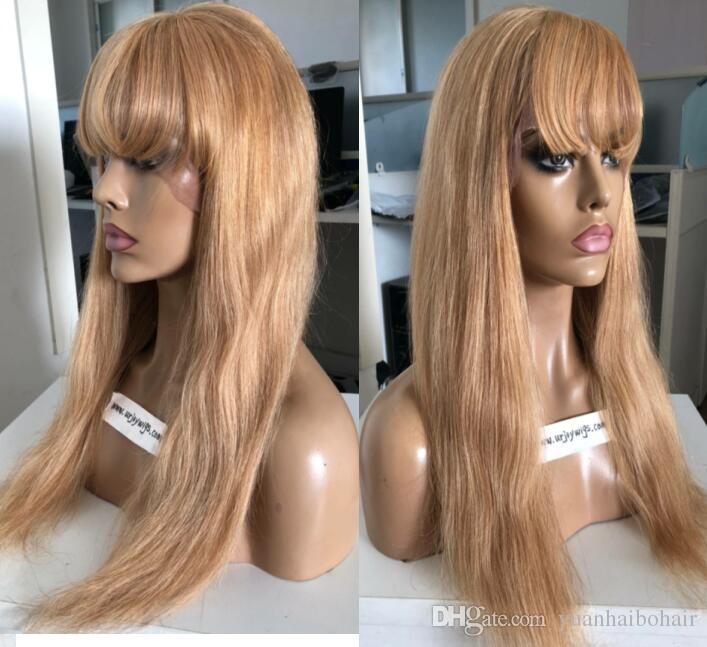 9A Grade Honey Blonde Full Lace Wig with Bang European Virgin Human Hair Natural Color Sliky Straight Gluelss Lace Front Wigs Free Shipping