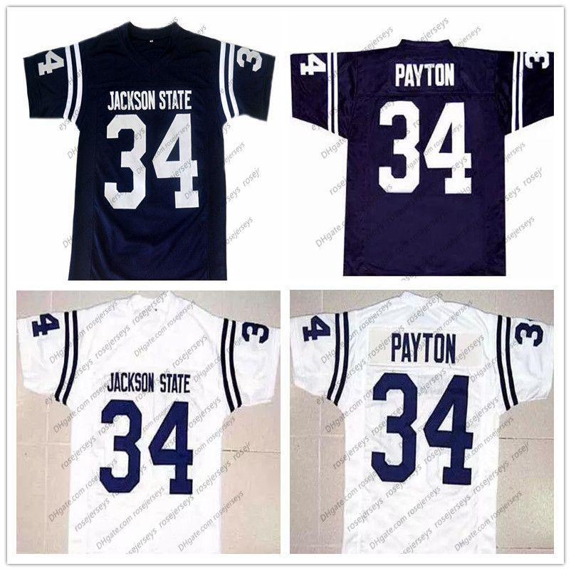 NCAA Jackson State Tigers # 34 Walter Payton 네이비 블루 레트로 저지 JSU CHI 대학 축구 화이트 오렌지 빈티지 남자 청소년 키즈 S-4XL