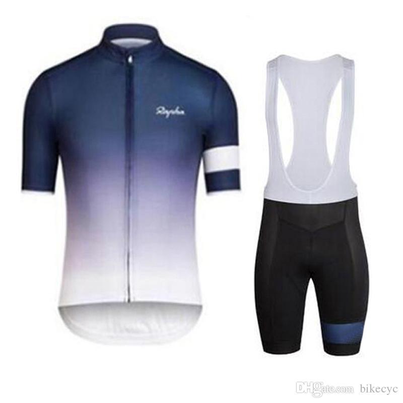 RAPHA equipo Ciclismo mangas cortas jersey (babero) establece 2018 Venta caliente verano nuevo transpirable ropa MTB ciclismo de secado rápido ciclismo hombres C1721