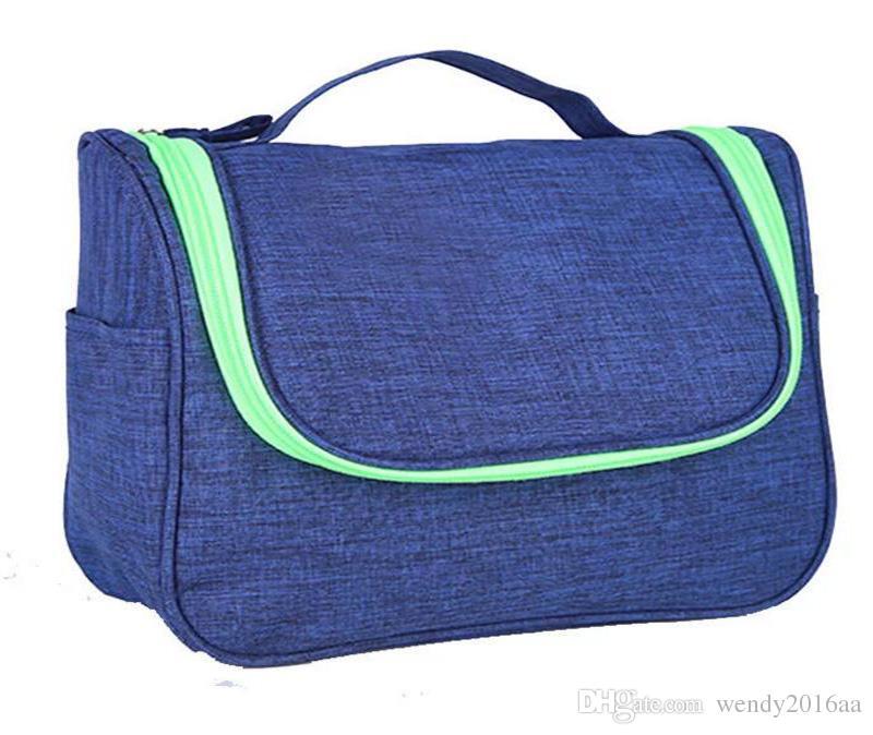 2019 5 couleurs dull polonais imperméable à l'eau de maquillage cosmétique organisateur sac boîte cas femmes Casual demin zipper sacs à main de voyage sac
