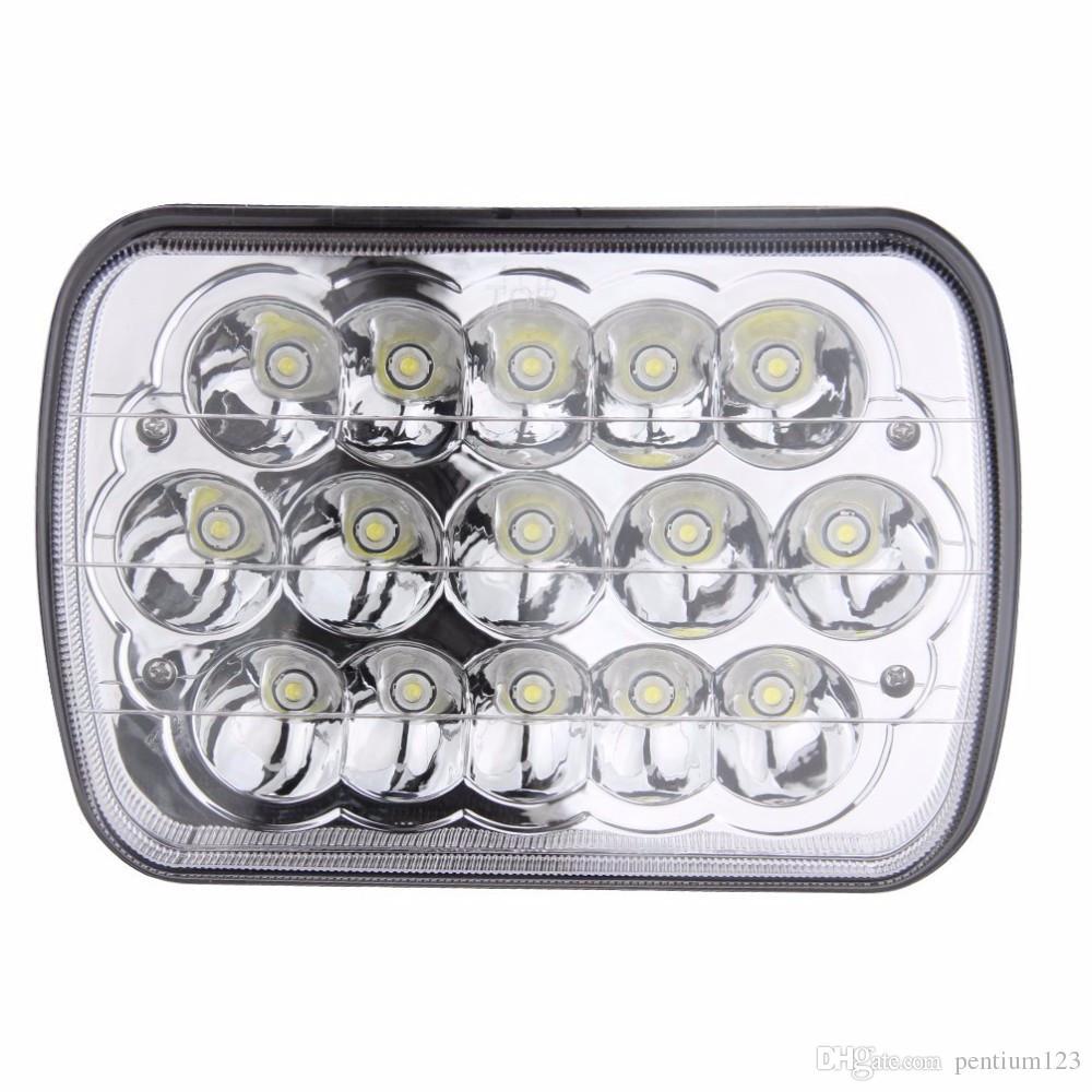 2PCS 7x5 15 White Full HID LED Headlights 45W LED Head lamp For 79-01 Jeep Cherokee