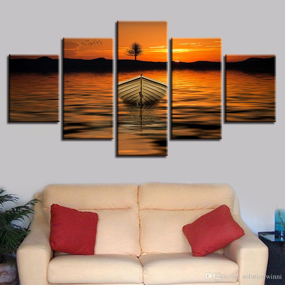 Wall Art Picture HD Printing On Canvas 5 Pieces Mountain Lake Ship Tree Beautiful Sunset Scenery Paintings Modular Bedroom Decor