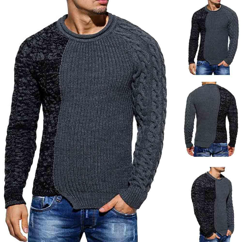2019 2018 New Style Men\u0027S Style Round Collar Contact Color Gentiana Stitch  Mens Sweater From Annawu163, $50.77