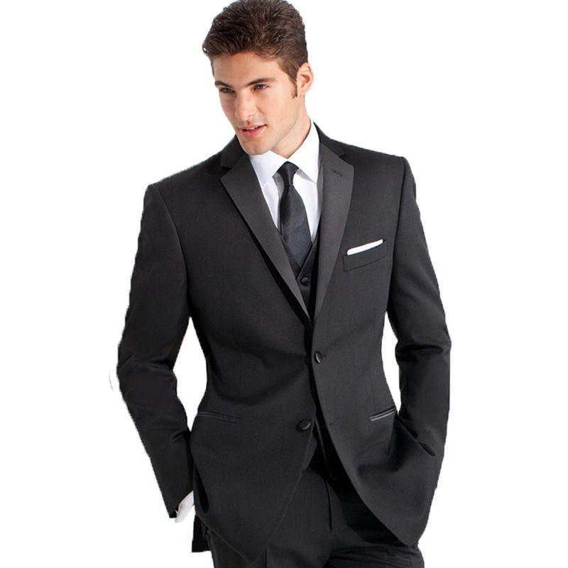 Custom Made Black Men Suits for Wedding Slim Fit Groom Tuxedos Groomsmen Blazers 3 Pieces Jacket pants Vest Bridegroom Suits Best Man Wear
