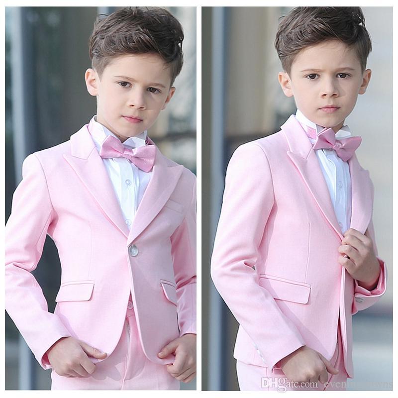 Calças Jaqueta Desgaste Formal do menino 2 Pcs Set Rosa Meninos ternos para casamentos Crianças Ternos De Casamento Do Baile de finalistas para Crianças Menino